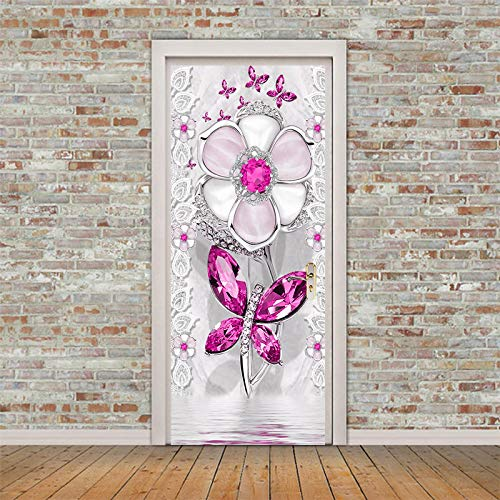 ADYNL Pegatinas Puertas Adhesivo Interiores 3D Mariposa Flor De Cristal Rosa Etiqueta...