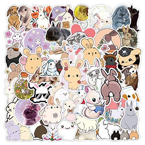 50pcs Cute Animal Rabbit Stickers Suitcase Laptop Skateboard Refrigerator Water Cup Decal Shark Dinosaur Sticker Waterproof