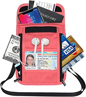 Travel Pouch Neck Wallet with RFID Blocking Passport Holder Stash Pouch for Women Men