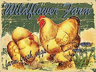 Losea Wildflower Farms Fresh Eggs Vintage Metal Tin Signs for Home Kitchen Wall Art Pub Bar Decor 12 x 8 inches