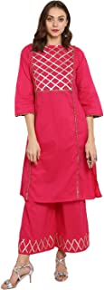 Bhama Couture Women's Straight Salwar Suit Set(Pack of 2)(BHKS055_Pink)