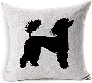 Ahawoso Linen Throw Pillow Cover Square 18x18 Dog French Poodle Graphics Silhouette Animals Grunge Vintage Wildlife Show Black Pet Blower Texture Character Pillowcase Home Decor Cushion Pillow Case
