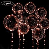 6 Packs LED Light Up BoBo Balloons Warm White, 10 PCS Bobo Balloons,3 Levels Flashing LED String Lights,20 Inches Bubble Balloons Helium Style, for Christma/Birthday/Wedding Party Decoration