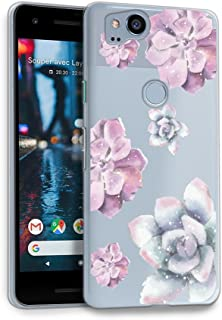 HelloGiftify Google Pixel 2 Case, Watercolor Purple Flower TPU Soft Gel Protective Case for Google Pixel 2