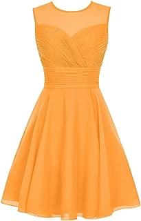 CladiyaDress Women Sheer Neck Sleeveless Short Bridesmaid Dress Homecoming Gown D063LF