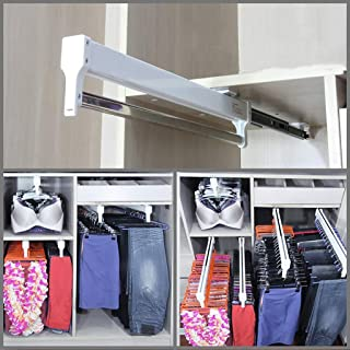 550mm/21.6'' Pull-Out Closet Valet Rod Adjustable Wardrobe Clothing Rail Top Mount Wardrobe Hanger Rack Bar Ball Bearing Slide Heavy Duty