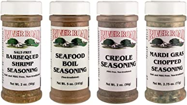 River Road By Fiesta Cajun Seasoning Favorites 4 Flavor Variety Bundle, (1) Each: Mardi Gras Chopped, Seafood Boil, Salt-Free BBQ Shrimp, Creole 2-5 Ounces