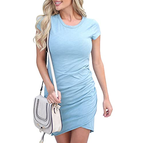 9bd9a7890 Beautife Womens Summer Bodycon Dress Casual Short Sleeve Work Pencil Ruched  Mini Dresses