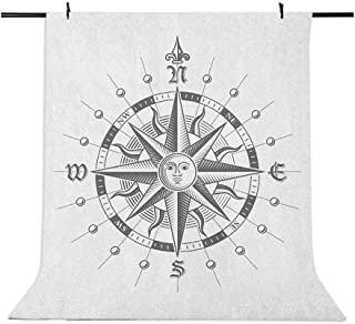 5x7 FT Vinyl Photography Backdrop,Hand Drawn Compass with The Face of The Sun on Directions North South East West Sailing ...