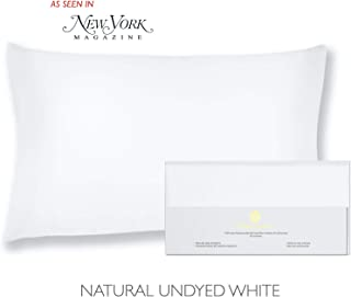 """Beauty of Orient - 100% Pure Mulberry Silk Pillowcase for Hair and Skin, 19 Momme Both Sides, Hidden Zipper, Natural Hypoallergenic Silk Pillow Case, (1pc Standard - 20"""" x 26"""", Natural Undyed White)"""