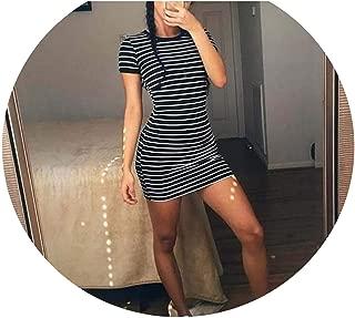 Enough Stock Summer Round Neck Short-Sleeved Dress Casual Elegant Sheath Slim Dress