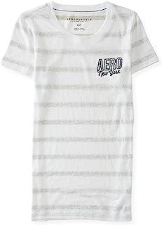 AEROPOSTALE Womens Stripe Logo Embellished T-Shirt