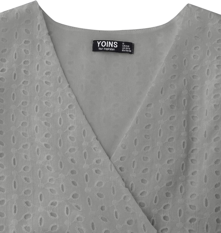 YOINS Sommerkleid Damen V-Ausschnitt Kurzarm Rüschen Tunika Kleid Kurze Mini Freizeitkleid Lässige Kleider A-Line Grau