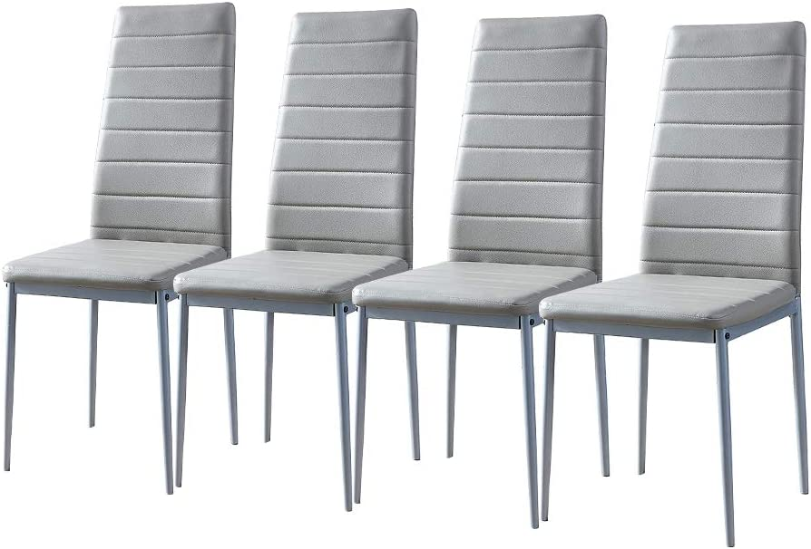 Buy Huisen Furniture Grey Dining Room Chair Set Of 4 Kitchen Chairs Faux Leather With Comfy Upholstered Padded Seat Metal Frame Modern Home Office Chairs For Restaurant Lounge Dinette Space Saving Online