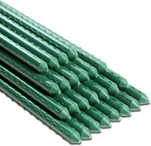 Avery Garden 6FT 25 Pack Garden Stakes Plant Support Steel Core & Plastic Coated Sturdy Metal Sticks Supporter for Tomato Cucumber Strawberry Bean Tree Vegetables (72 Inch-25 Pack, Green)
