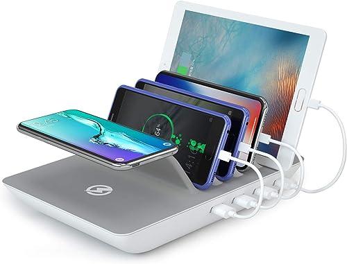 ValueTalk Station de Charge Intelligent Charge à Induction Sans Fil Chargeurs de Bureau pour IPhone Samsung Tablettes...