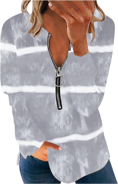 Women Long Sleeve Shirts,Women's Zip Up Pullover Long Sleeves Stripe Print Sweatshirts Fashion Plus Size Blouse Shirt