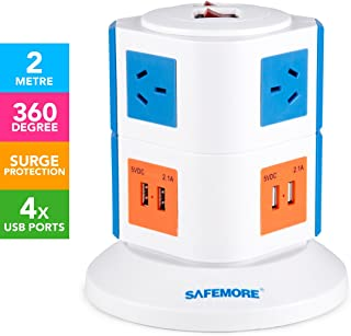 Safemore 2 Level VPS Origin Power Board Tower 240V 6 Outlets/4 USB Charger 2.1A