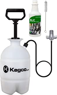 Kegco Deluxe Hand Pump Pressurized Keg Beer Cleaning Kit PCK with 32 Ounce National Chemicals Beer Line Cleaner