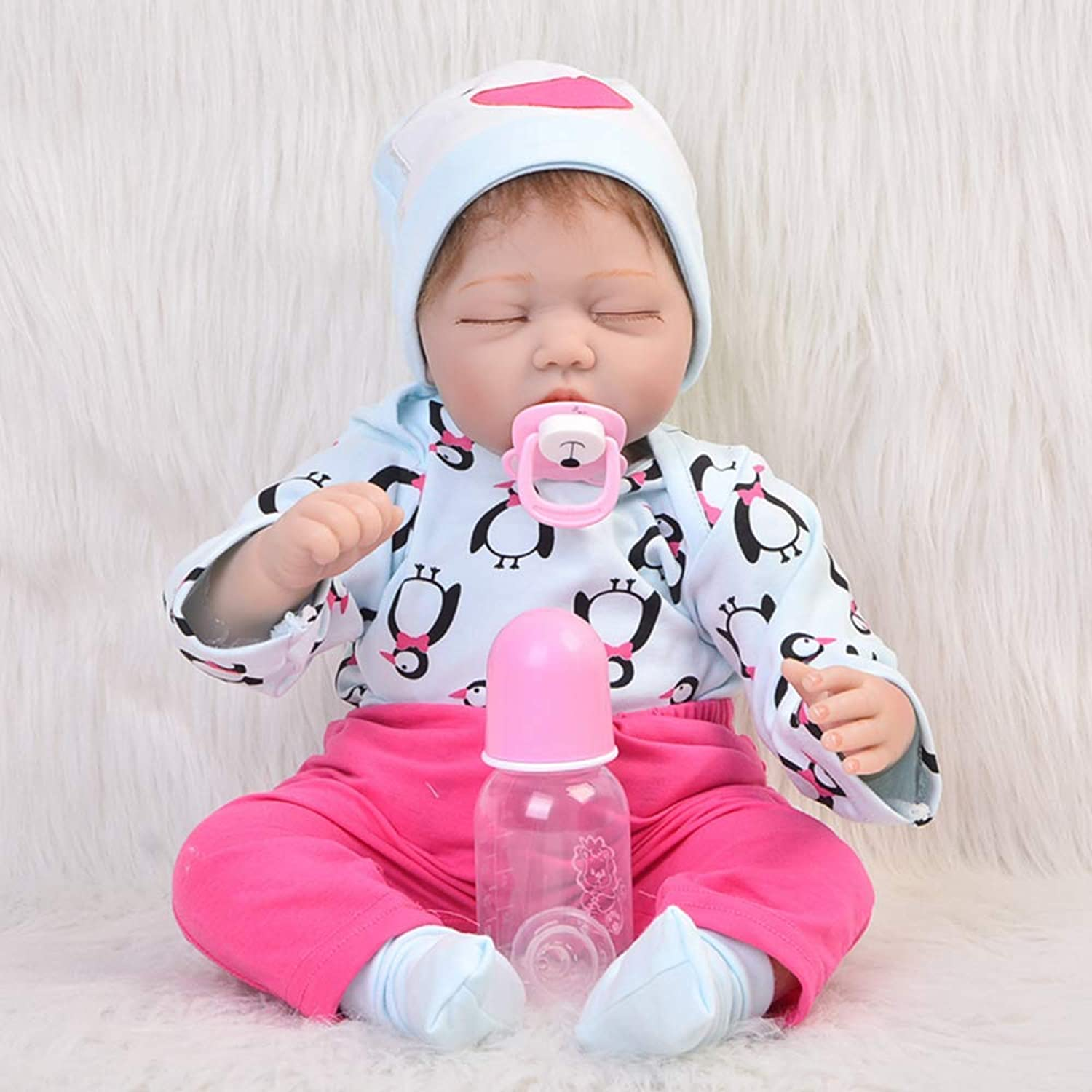 UBTY Realistic Eyes Closed Girl Reborn Baby Doll Soft Vinyl Silicone Magnetic Mouth Newborn Xmas Gifts 22inch 55cm