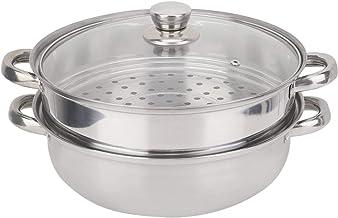 Cuiseur à vapeur, batterie de cuisine en acier inoxydable 27cm/11in 2 couches cuiseur vapeur cuiseur double chaudière soup...