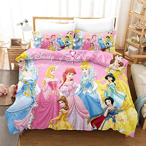 SMNVCKJ Bella Rapunzel - Ropa de cama infantil de princesas Disney Cenicienta,...