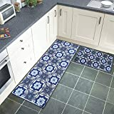 AGELMAT Kitchen Mat, 2PCS Cushioned Anti-Fatigue Kitchen Rug Set Non-Slip Ergonomic Comfort Foam Carpet Mat Set,Water Oil Proof Standing Rugs Decor Laundry, Floor Home, Office, Sink,Blue