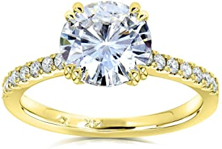 Forever One Moissanite and Lab Grown Diamond Engagement Ring 1 3/4 CTW 14k Yellow Gold (DEF/VS)