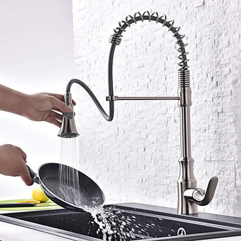 Küchenarmatur Einhebel Einlochmontage Nickelbürste Standard Düse Zentriersatz moderner Küchenarmatur Messing