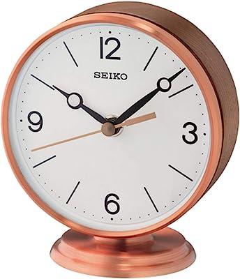 Seiko Braxton Clock, Rose Gold, Brown