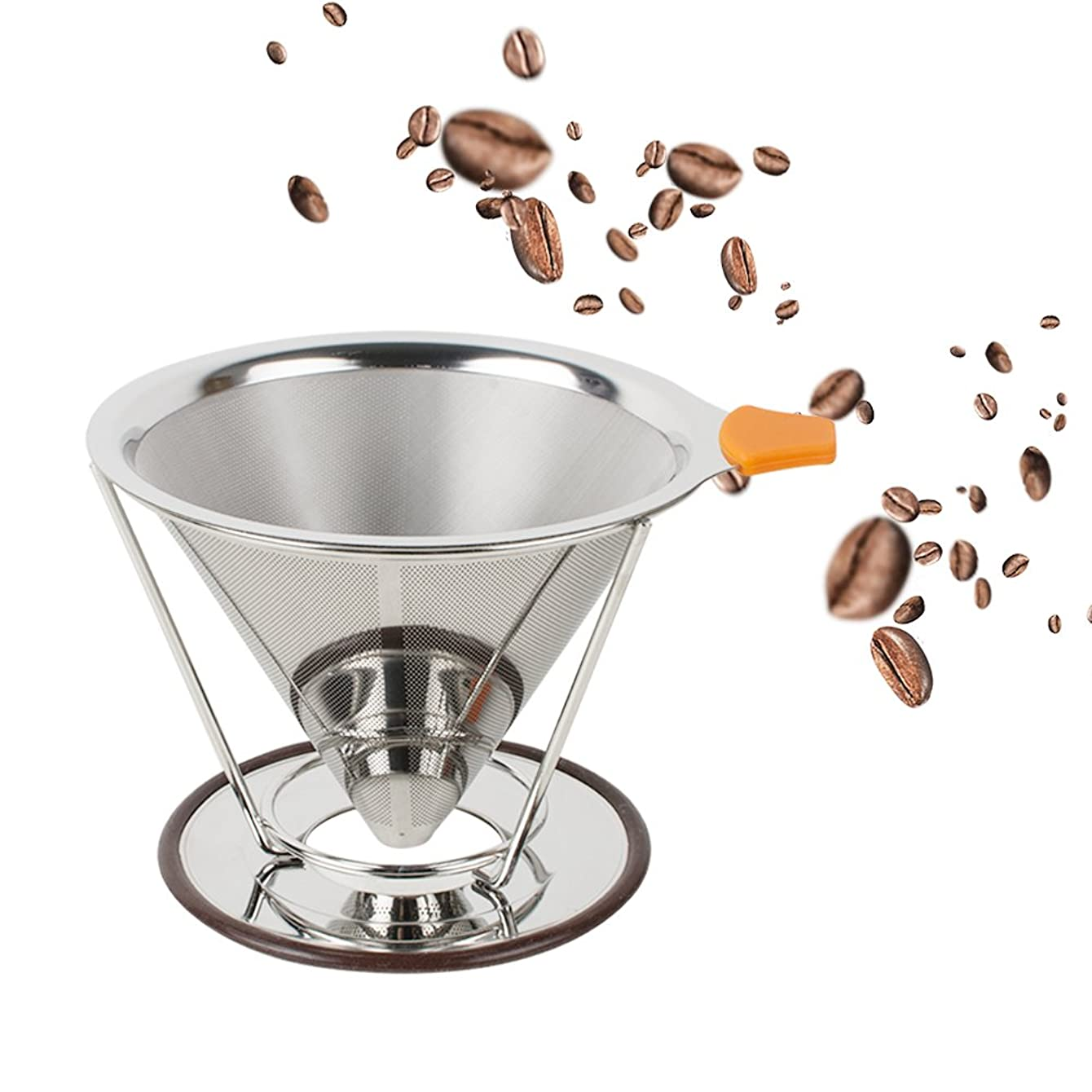 Vinmax Stainless Steel Cone Coffee Dripper Paperless, Double Mesh Pour Over Coffee Maker with Separate Standard 1-to-4 Coffee Filter Cone,Non-Slip Handle - Dishwasher (1)