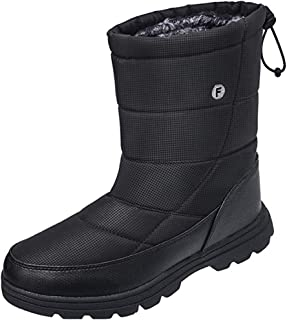Mens Winter Mid-Calf Snow Boot Fur Warm Waterproof Slip...