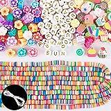 2050pcs Cuentas Planas de Arcilla Polimérica Cuentas Colores Flores Dulces Letras para Hacer Pulseras con Hilo Elástico Manualidades para Joyas Pendientes Fabricación de Bisutería