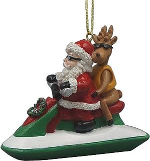 JDYeattes Santa Riding a Jet Ski with a Reindeer Hanging Ornament