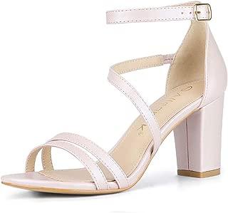Allegra K Women's Open Toe Ankle Strap Dress Block Heeled Sandals