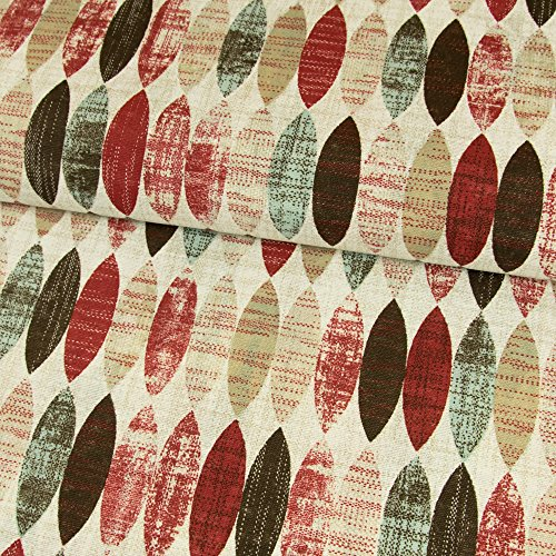 Stoffe Werning Dekostoff ovales Retro Muster rot Canvasstoff - Preis Gilt für 0,5 Meter -