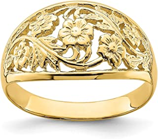 14k Yellow Gold Floral Dome Band Ring Size 7.00 Flowers/leaf Fine Jewelry Gifts For Women For Her