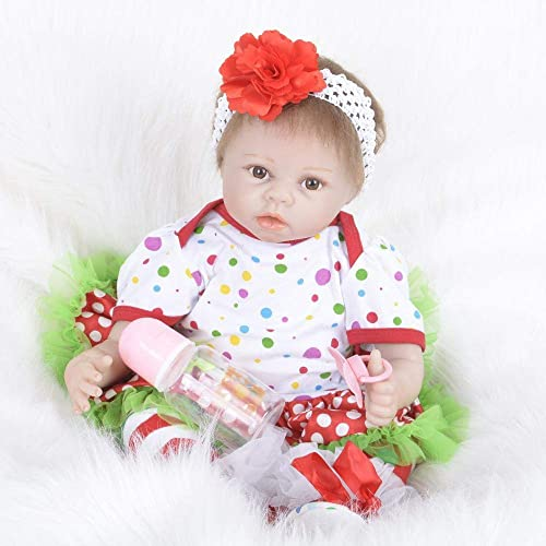 Hongge Reborn Baby Doll,Lebensechte Silikon Reborn Puppe lebensechte Puppe Baby Geburtstagsgeschenk 55cm