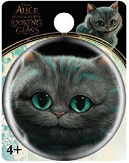 Unisex-Adult's Cheshire Cat Head Button Pin, turquoise, standard