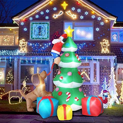 7 Ft Christmas Inflatables Blow Up Yard Decorations, A Puppy Biting Santa Claus' Pants and Santa Climbing Christmas Tree, Rotating LED Lights Inflatable Christmas Decorations for Outdoor Yard Lawn