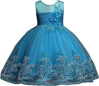 Patricia Mendiluce Rose Bianche su Sfondo Azzurro Vestito Abito Bambina con Spalline Elastiche