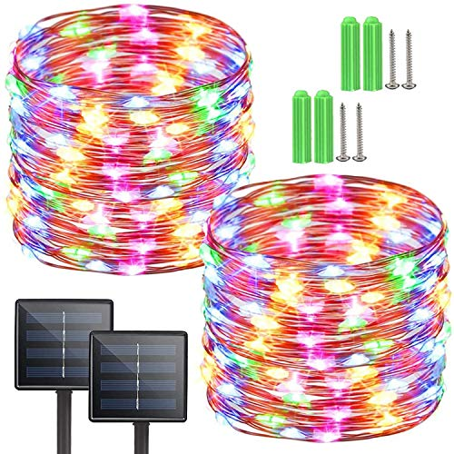 2-Pack 72ft 200LED Solar String Lights Outdoor, 8 Modes Fairy Lights,Waterproof Copper Wire for Garden Patio Party Decoration(Multicolor)