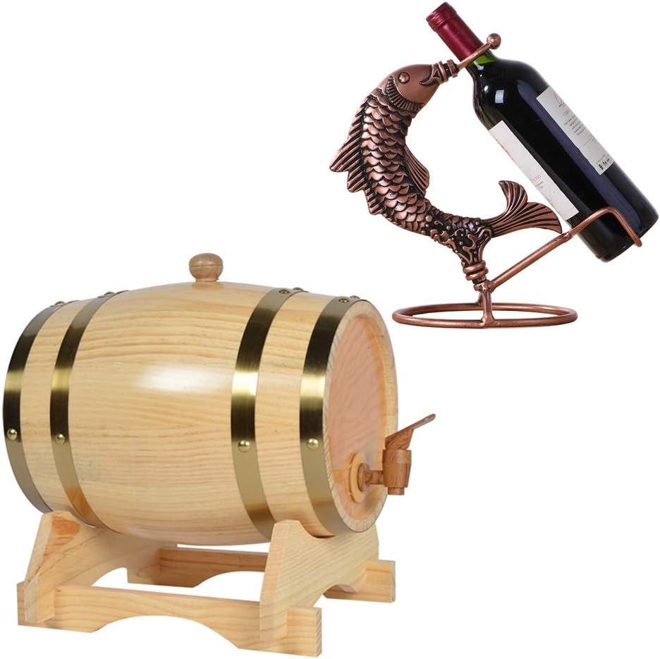 LPLND Barril de Vino Roble del Barril de Vino, Madera Natural Barril de Vino del dispensador, Vino Whisky Barril de Almacenamiento for la Cerveza Whisky Ron Puerto (Color : C, Size : 10L)