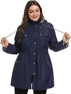 Hanna Nikole Women's Plus Size Lightweight Raincoats Lined Outdoor Hooded Rain Jacket Windbreaker