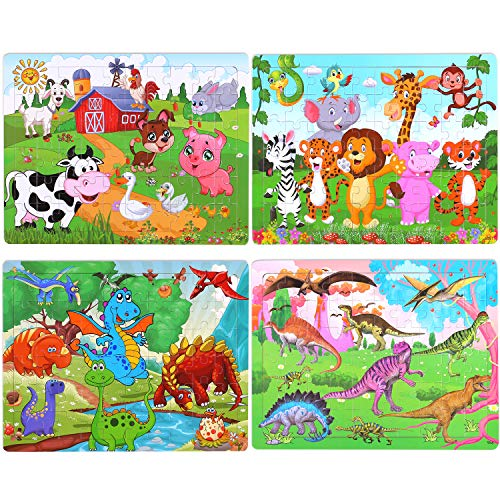 Puzzles for Kids Ages 4-8, 4 Pack Wooden Jigsaw Puzzles 60 Pieces Preschool Educational Learning Toys Set for Boys Girls