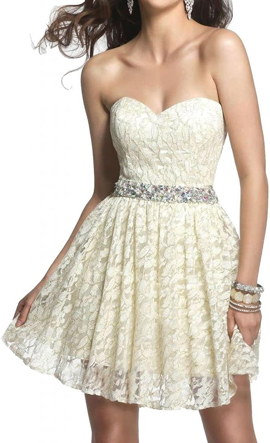 Angel Bride 2015 new arrival Ivory Mini Sweethart Lace Homecoming Dresses