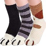 Plush Cozy Sock Cute Cat Claw Design Warm Cozy Fluffy Socks Indoor Sleep Floor Socks,for Home Winter 6, 3 Pairs Style one