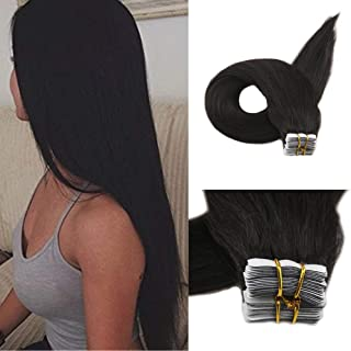 Full Shine 12 Inch Real Hair Extensions Tape Ins Color #1B Off Black Human Tape In Extension Thick From Top To Ends Hidden Tape Xtensions Human Hair 20 Pieces 30 Gram Double Sided Glue On Hair