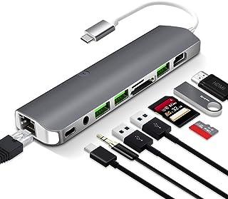 قاعدة شحن محمولة، النوع -c إلى HDMI متعدد الوظائف قارئ بطاقات USB 3.0 PD للشحن متعدد الوظائف منفذ USB C جيجابت ايثرنت + 3....