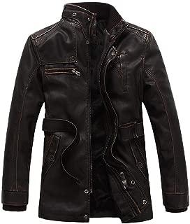 Sunward Men's Coats Jackets,Men's Autumn Winter Fashion Zipper Pure Color Imitation Leather Coat